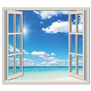 azutura Tropical Beach 3D Window Wall Sticker Ocean Paradise Wall Decal Bathroom Decor available in 8 Sizes Gigantic Digital