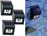 Lunartec Solar-Nachtlichter: 3er-Set Solar-LED-Wandleuchten mit Bewegungsmelder, Dimm-Funktion (LED-Lichter mit Solar-Aufladung)