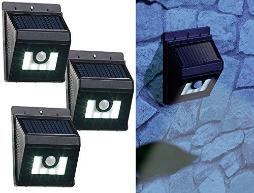 Lunartec LED-Solar-Wandlampe: 3er-Set Solar-LED-Wandleuchten mit Bewegungsmelder, Dimm-Funktion (Hauswandlampe)