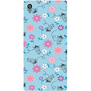 Casotec Floral Bees Pattern Design Hard Back Case Cover for Sony Xperia Z5 Dual