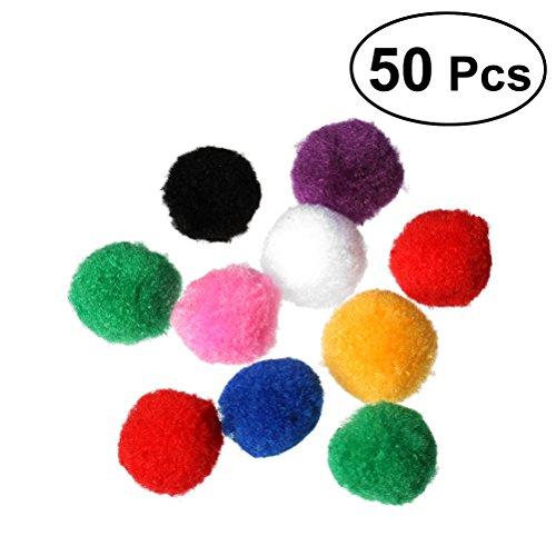 UEETEK 50 Stücke Pompoms Bälle für Kinder DIY Handwerk Dekorationen oder Katzenspielzeug 4cm (Mix Farbe)