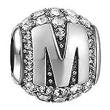 Soufeel Lettre M Alphabet Charm en Argent Sterling 925 Cristaux Swarovski pour Femme Européen Colliers Bracelets