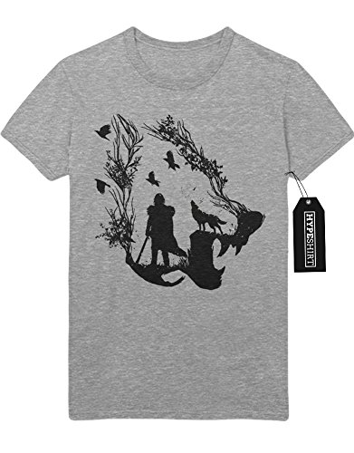 T-Shirt Game of Thrones Winter is coming Wolf Schwert Evil C980059 Grau M