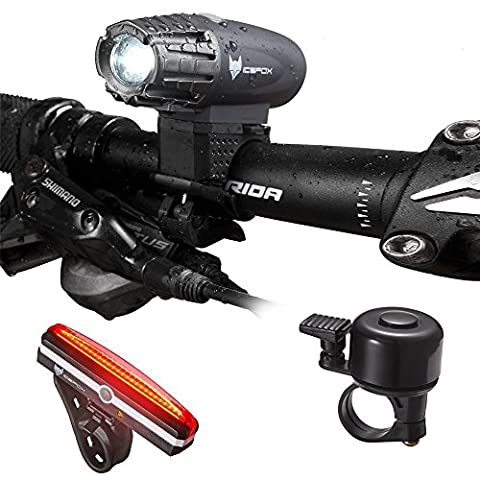 Bike Lights, icefox USB Rechargeable LED Bicycle Lights, Front and Rear Bicycle Lights 300 Lumens Super Bright, 4 Light Modes for Safe Cycling, Splash-proof (plus free bicycle