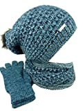 AMALTEA TEA 3 teiliges Damen Winterset Schal Mütze Handschuhe (blau petrol)