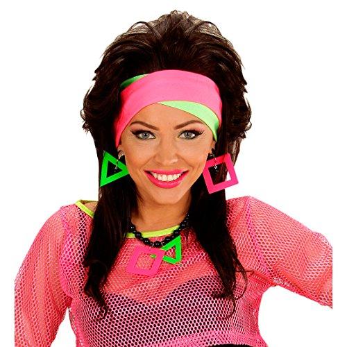 Preisvergleich Produktbild Neon-Stirnband 80er Haarband Aerobic Outfit Zubehör schrilles Klapsband Fitness Kostüm Accessoire Damenkostüm Zubehör