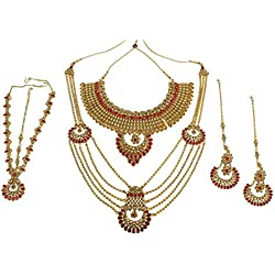 Muchmore Gold Plated Kundan Stone Bridal Necklace Set For Women