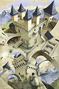 Irvine Peacock Castle of Illusion Eschaer Style Psychedelic Art PAPER POSTER measures 36 x 24 inches (91.5 x 61cm)