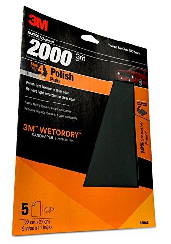 3M (TM) Wetordry (TM) Schleifpapier, 32044, 2000Körnung, 22,9x 27,9cm, 5Blatt pro Pack - 3m Schleifpapier Wetordry