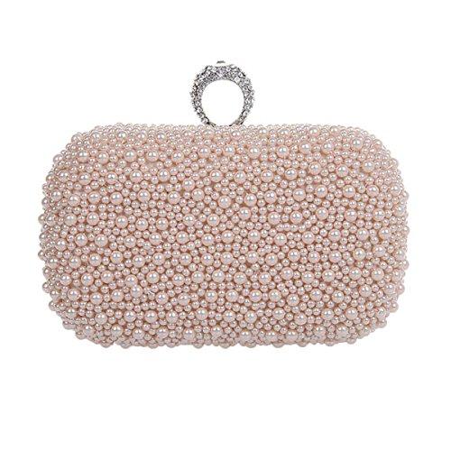 Borsa Delle Signore Handmade Bead Telefono Mobile Evening Party Cosmetics Pink
