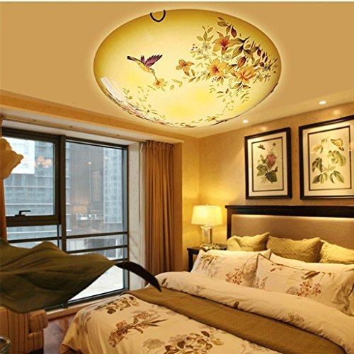Die Leuchten Glasschirm Für (MOMO Deckenleuchte Deckenleuchte Led, Schlafzimmer Wohnzimmer Beleuchtung, Gangbeleuchtung, Glasschirm, Garten Blumen Einfache Farbe Ändern Sie die Lichter,Durchmesser 50cm48w)