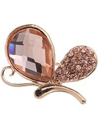 Yazilind bijoux plaque or Vogue animees papillon volant detaches WATERDROP Brown Crystal Broches et Pins