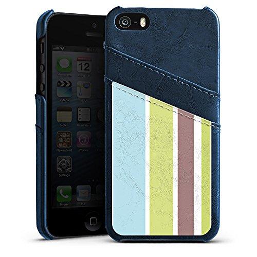 Apple iPhone 5s Housse Étui Protection Coque Bandes Pastel Années 90 Étui en cuir bleu marine