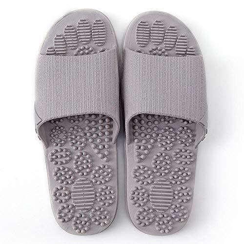 Massage Schuhe,Indoor Fußmassage Sandalen und Hausschuhe, Haussommer Bad weichen Boden Hausschuhe, Grey_44-45,Unisex-Erwachsene Slide Sandalen -
