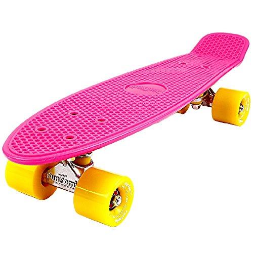 Trucks Roller Skate Wheels Und (FunTomia® Mini-Board 57cm Skateboard mit oder ohne LED Leuchtrollen inkl. Aluminium Truck und Mach1 Kugellager in verschiedenen Farben zur Auswahl (Mini-Board in Pink / gelbe Rollen ohne LED))