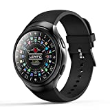 Lu Smartwatch Monitor SMS Call Notification Weather Pedometer, 1.3 Inch Round Touch Screen Support GPS/WiFi/SIM