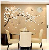 HAJKSDS Chinese Old Style Moon Flower Wall Sticker for Living Room Sofa/TV Background Decoration Tattoos Art Mural Poetry Stickers