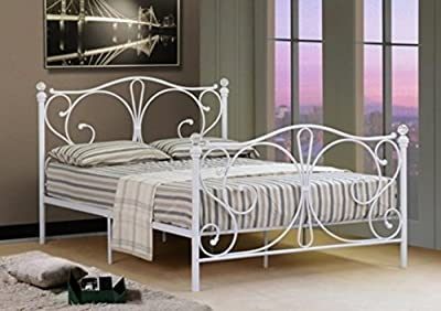 Comfy Living 4ft Small Double White Metal Bed Frame With Crystal Finials - inexpensive UK light store.