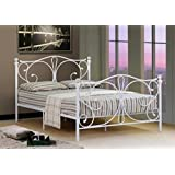 Comfy Living 5ft King Size White Metal Bed Frame With Crystal Finials