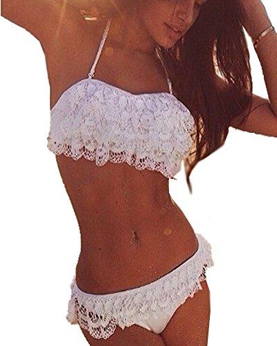Minetom Damen Sommer Elegant Lace Bikini-Sets Strand Schwimmanzug Padded Swimsuits Neckholder Zweiteilige Push Up Badeanzug Bademode Weiß DE 42