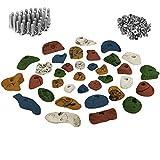 ALPIDEX Starterset: 35 Kinder Klettergriffe - Schrauben und 100 Einschlagmuttern inklusive, Farbe:bunt
