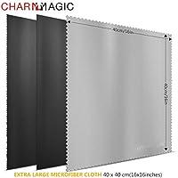 Charm & Maigc Extra Grande de Microfibra Paños de Limpieza para Todo Tipo de Screens-3 unidades (2 Negro + 1 Gris, 40 x 40 cm)