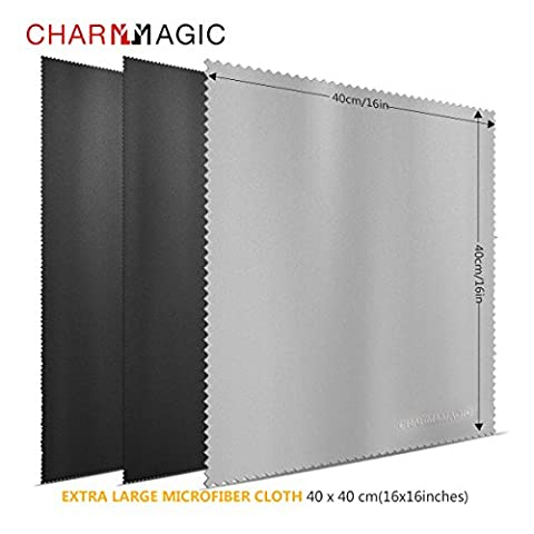 CHARM & MAGIC Extra Large en Microfibre Chiffons de Nettoyage Pour Tous Les Type de Screens-3 Lot (2 Noir + 1 Gris, 40 x 40 cm)