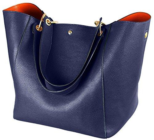 Leder Blau (Taschen Damen Leder Blau 2017 SQLP Neu Elegant Große Handtasche Europäische stil Schultertaschen Umhängetasche Shopper Tasche Henkeltasche Beuteltasche Weich Damentasche)