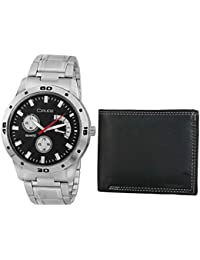 Crude Combo Of Black Dial Watch-rg700 With Black Leather Wallet For Men's & Boy's