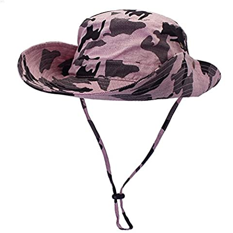 NYCOODNY 50+ Outdoor UPF Boonie Hat Summer Sun Hiking Cap Wide Brim Fishing Camouflage Hat (Camouflage Pink)