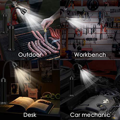 51BztACLC5L - Mitening Grill Licht, 2 Stück Magnetische Grilllampe LED BBQ Licht Set Outdoor Lampen Grill Lichter Lampe BBQ Zubehör für Grillen im Freien, Batteriebetrieben, 360 Grad Drehwinkel (Schwarz)