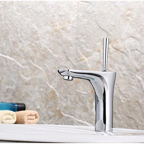Wasserhahn FANGQIAO SHOP Chrom-Edelstahl-modernes Badezimmer-Monoblock-Becken-Schüssel-Wannen-Mischbatterien-Einhebel-Waschraum-Handwaschbecken-Hahn-Hahn mit Großbritannien-Standardinstallationen