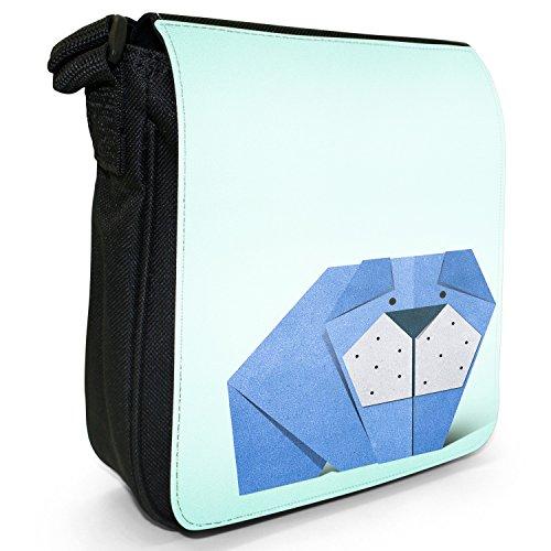 Origami Giapponese Animali Carta Piccola Borsa A Tracolla Nero Tela Origami Grande Blu Divertente Cane Felice