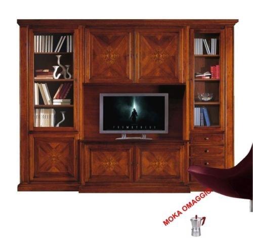 Classico composizione parete attrezzata tinta noce mobile porta tv per sala 550 298x56x237