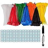 Lot de 140 étiquettes de serrage de câble colorées de 15,2 cm avec 256 étiquettes blanches et 1 marqueur pour la gestion des câbles, câbles et cordons, 7 couleurs