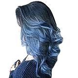 WOZOW Parrucche da donna,Moda Naturale Resistente al Calore Da Nero a Blu Ondulato Sintetico Lungo Capelli