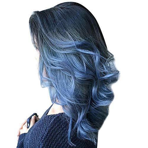 Yuan Frauen-schwarze Perücken, Blau-lange gewellte Perücken-Haar-synthetische volle Perücken