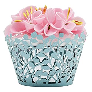 Betop House 50pcs Laser-cut Lace Vine Leaves Cupcake Muffin Wrappers, Aqua Color