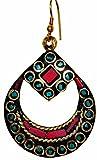 Purpledip Brass Dangle Earrings With Art...