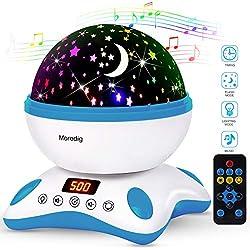 Moredig - Música lampara proyector estrellas 360 grados rotación con led pantalla, romántica luz de la noche y 8 modos, regalo para niños cumpleaños, día de los Reyes, Navidad - Azul y blanco