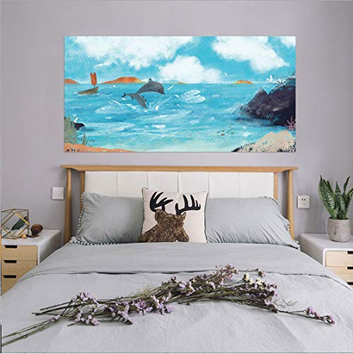 Azure Dolphin Bay Kreative Bedhead Aufkleber Personalisierte Wohnkultur Wandaufkleber Wandbild 90 * 180 cm -