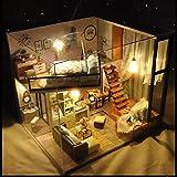 Feiledi Commercio DIY House con Copertura Antipolvere, Fai da Te in Legno casa delle Bambole Cabin Kit novità Ragazze Bambini Compleanno Decorazioni casa con LED, Kit di casa delle Bambole con mobili