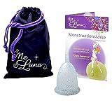 Me Luna Coupe menstruelle Classic, manche, bleu/paillettes, Taille S