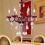 Kronleuchter- Rote Kerze Lampe Europäischen Luxus Kristall Kronleuchter Einfache Mode Wohnzimmer Esszimmer Schlafzimmer Kronleuchter Lichter Glas Lampe Körper E14 HG (größe : A)