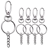 BronaGrand 50pcs D Swivel Trigger Clips Hooks Lobster Clasps Metal Key Ring with Key Chain