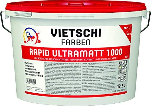 VIETSCHI RAPID ULTRAMATT 1000 LEF 12,5L weiß - hoch deckend mit Deckkraft Klasse 1, hoch scheuerbeständig mit Nassabrieb Klasse 1