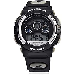 Leopard Shop HOSKA H001B Children Sports Wristwatch LED Digital Watch Day Chronograph Water Resistance White Black