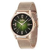 Sixties Unisex Erwachsene Analog Quarz Uhr mit Edelstahl Armband SIX500RGME-10