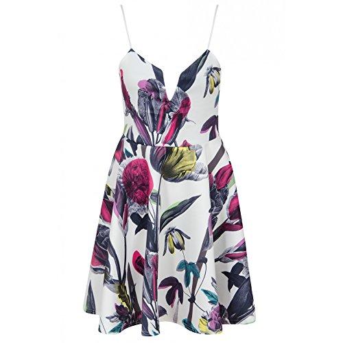 Ladies filles Plunge Cami Botanic Floral Print Skater Dress EUR Taille 36-42 Blanc Avec Fuschia Floral