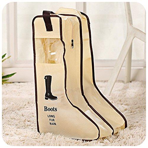 Yiuswoy Tragbare Nichtgewebte Staubdicht Schuhbox Schuhkasten Stiefel Aufbewahrung Stiefelbeutel Schuhaufbewahrung Boots Organizer Tasche Fuer Stiefel - Beige